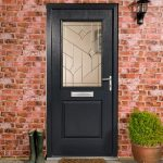 Modern front door with square glazed panel