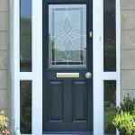 Front door with decorative glass panel