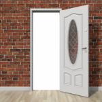 White uPVC door with glazed panel