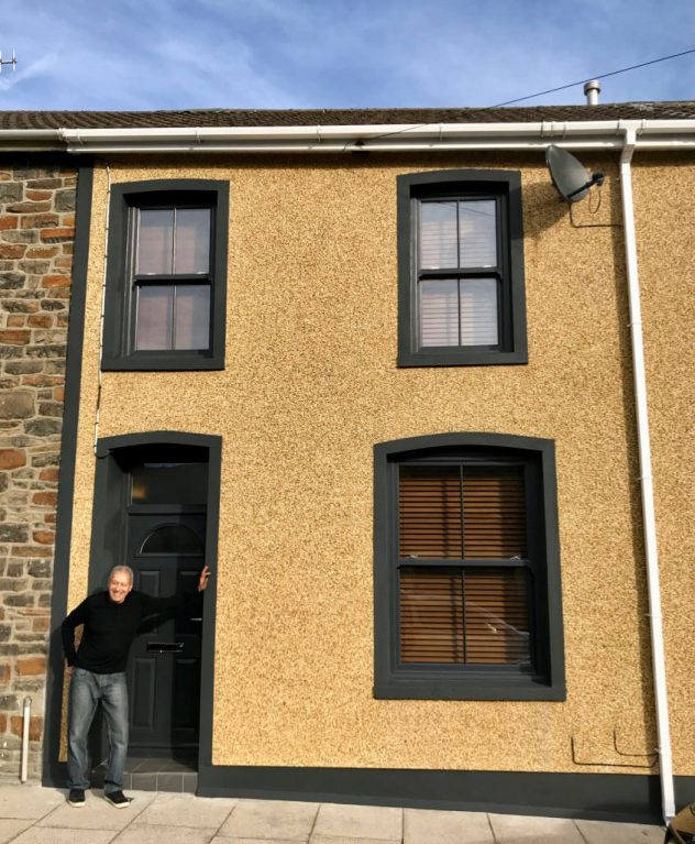 Black sash windows installed for terraced property in Wales