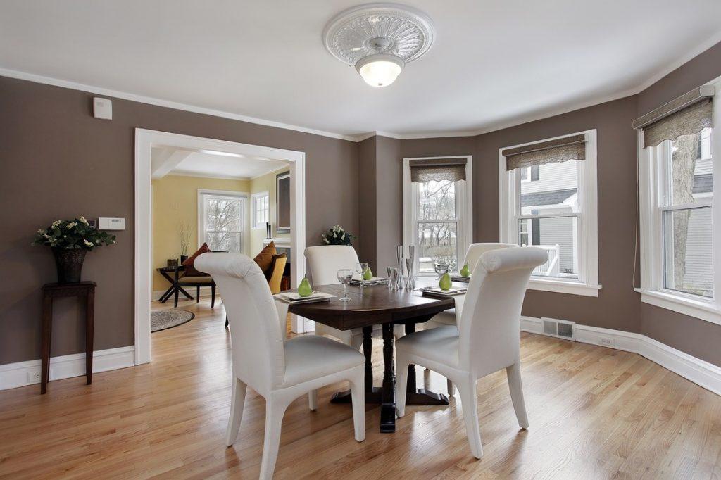 vertical sash sliding windows in modern dining room