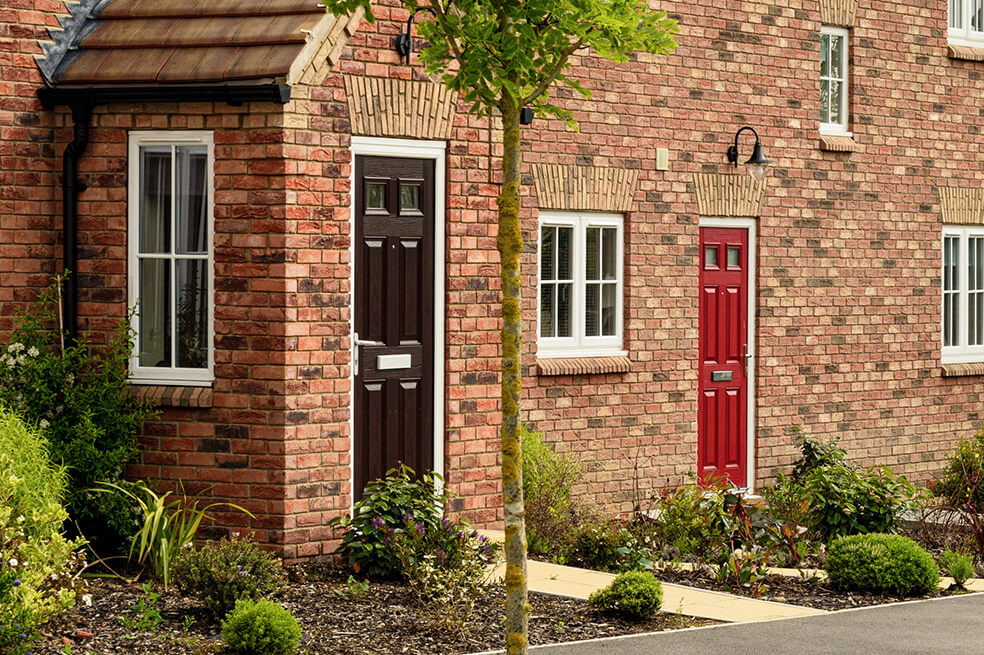 Black and red composite front doors