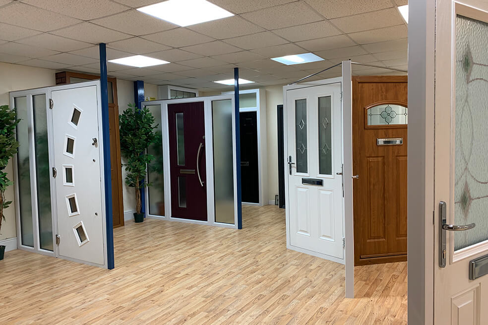 Composite doors in our showroom