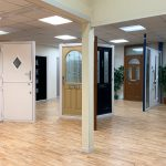 A range of front doors on demo at our showroom in wales
