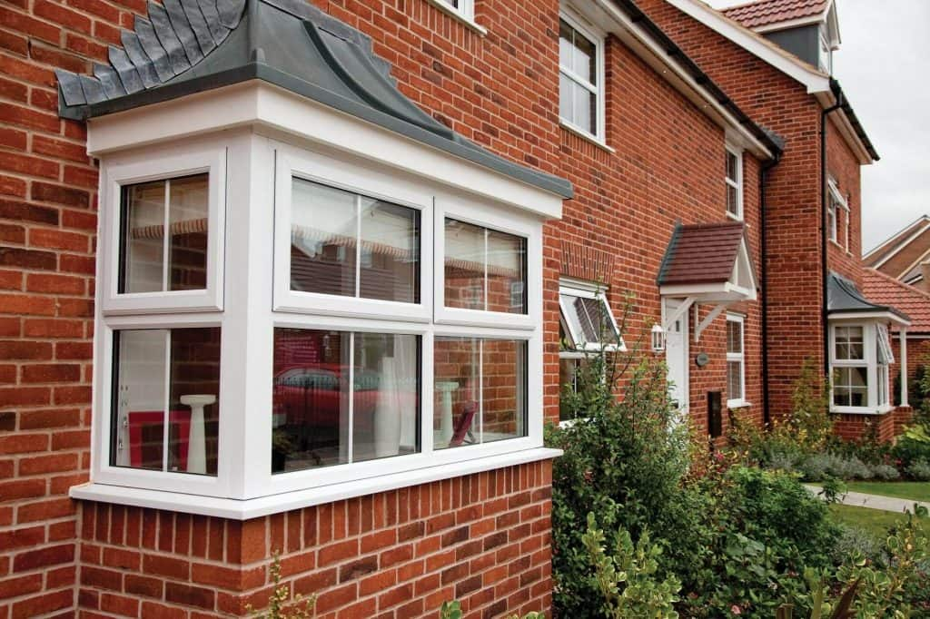 Double glazed bay style windows in white