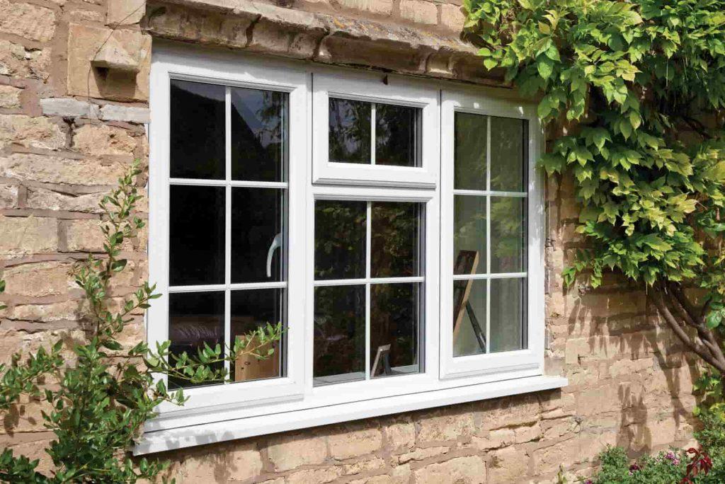 Double glazed windows in casement style