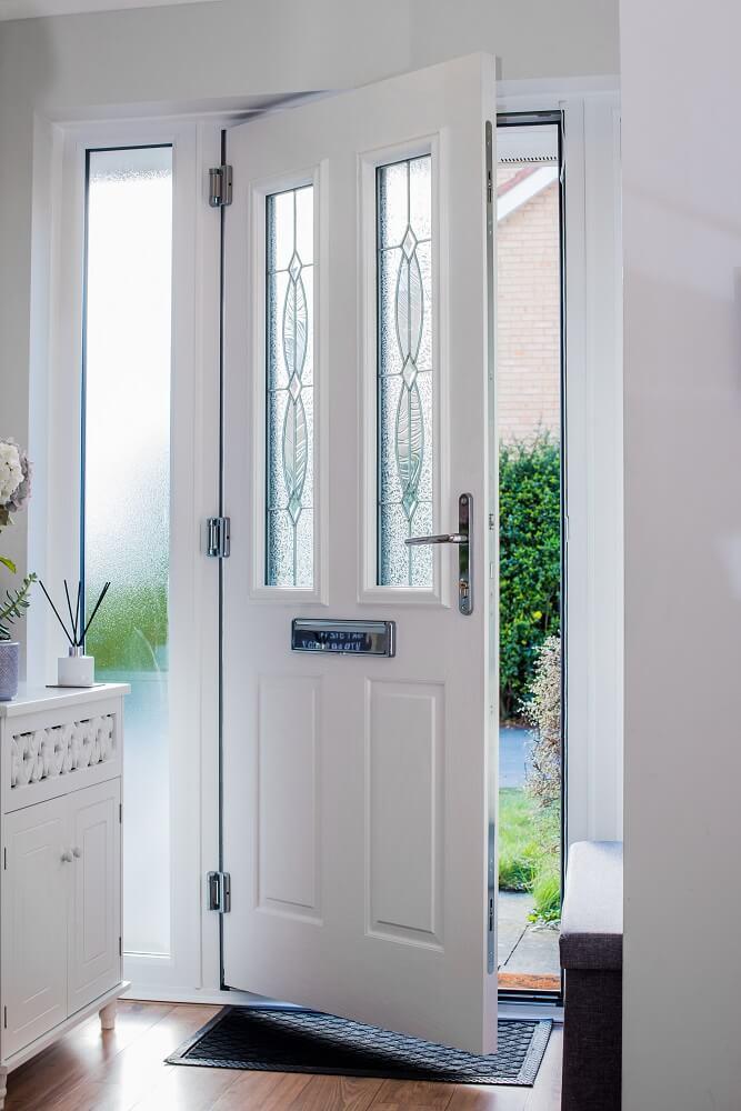 Inside of white composite door